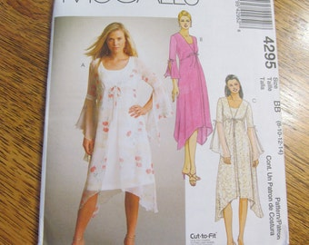 BOHO Empire Sheer Duster Jacket with Angel Sleeves & Sleeveless A-Line Dress - Size 8 - 10 - 12 - 14 - UNCUT Sewing Pattern McCalls 4295