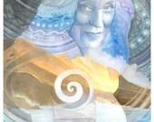 Crone Goddess Art - Double Exposure Style Watercolor Art