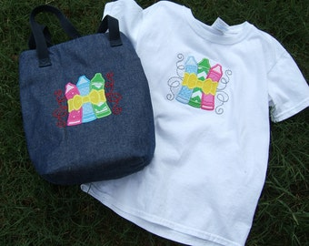 Girls T-shirt, Girls Lunch Bag, Back to School Set, Crayon Set, Girls School Set