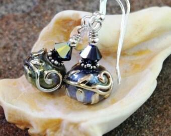 Violet Art Glass Earrings with Silver Vines | Artisan Lampwork Sterling Silver Earrings | Handcrafte Jewelry | Lady's Gift