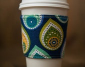 Reversible Coffee/Tea Cozy Sleeve, Thermally Insulated - Raindrops & Polka Dots