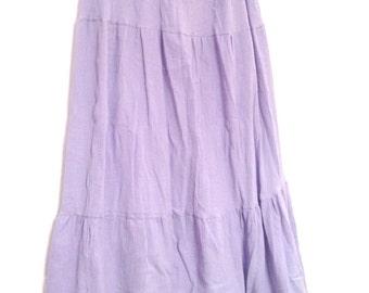 Bohemian Long Tiered Skirt in Light Lilac - Hippie Summer Cotton Gauze Skirt