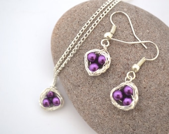 Purple Bird's Nest Necklace and Earring Set, READY TO SHIP