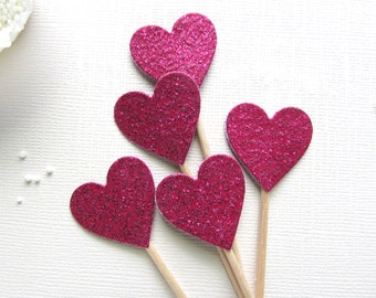 Pink Glitter Heart Cupcake Toppers, Party Decor, Weddings, Showers, Valentine's Day Decor, Double-Sided, Set of 15