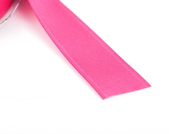 "1"" inch wide HOT PINK Double Faced Satin Ribbon with Grosgrain Edge, 2 yards (6 feet)  rib0103"