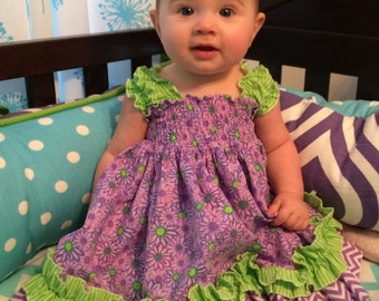 Purple Floral and Lime Green Sundress with Ruffled Diaper Cover, Sizes Newborn to 24 Months