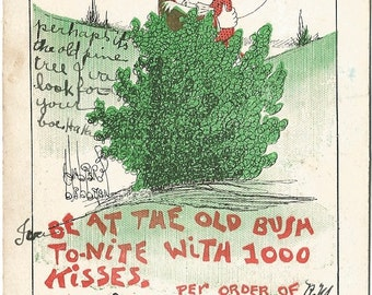 Be At The Old Bush Walter Wellman Artist Signed Vintage Postcard 1907 Romantic Couple Kissing behind Bush