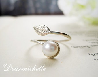 Flawless Freshwater Pearl Ring, Sterling Silver Leaf Ring, Natural Simple Pearl Ring, Adjustable Promise Ring, June birthstone