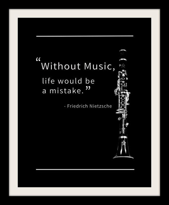 Friedrich Nietzsche Black and White Clarinet by ...