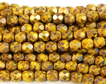 Opaque Yellow Bronze Picasso Czech Glass Bead 6mm Round - 25 Pc