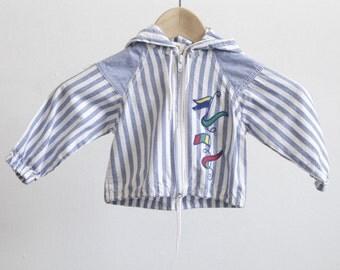 vintage toddler kids SAILING striped HOODIE sweatshirt