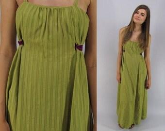 Vintage 60s Pointelle Maxi Dress, Boho Maxi Dress, Sleeveless Dress, Hawaiian Dress, Empire Waist Dress Δ size: sm