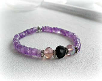 Amethyst and Lava - stacking bracelet - mineral beaded strech bracelet  purple pink jewelry - chunky bracelet - ombre lilac jewelry