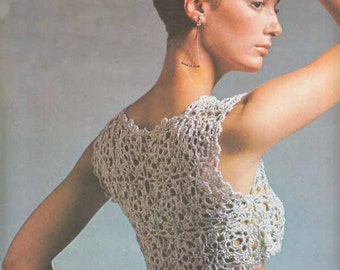 Crochet Crop Top/Vest 1960s VINTAGE PATTERN, Boho/Retro/Romantic/Gypsy, Silver Granny Squares, Instant Pdf  from GrannyTakesATrip 0286,