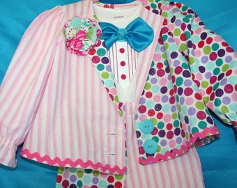 4 Piece Clown Costume for Toddler Girl - Pants, Shirt and Onesie with bowtie and suspenders and boutenniere