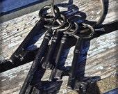 Old Keys, Large Mix of Decorative Keys, 5 Big Chunky Keys and Key Loop
