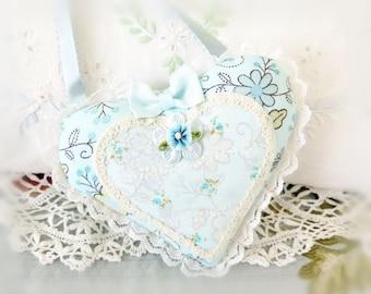 Heart Ornament 5.5 inch Door Hanger Heart  Ruffled Heart, Light Aqua , Folk Art, Handmade CharlotteStyle Decorative Folk Art