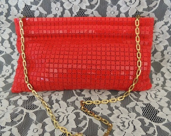 Lipstick RED Mesh Handbag Purse, Vintage 1960's