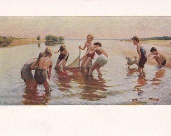 "L. Gusev ""The Young Fishermen"" Postcard -- 1961"