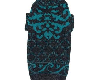Big Dog Clothing, Designer Dog Sweater, Large Black and Green Christmas Handmade Pet Puppy Apparel 0099