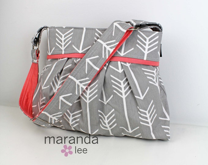 Stella Arrow Diaper Bag - Medium -Arrows Grey with Coral -Archer Archery Nappy Bag Baby Gear - 6 pockets Adjustable Strap Attach to Stroller