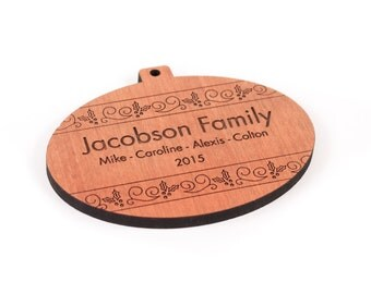 personalized oval bulb ornament - ideal gift for children and families, wooden keepsake with homegrown organic finish