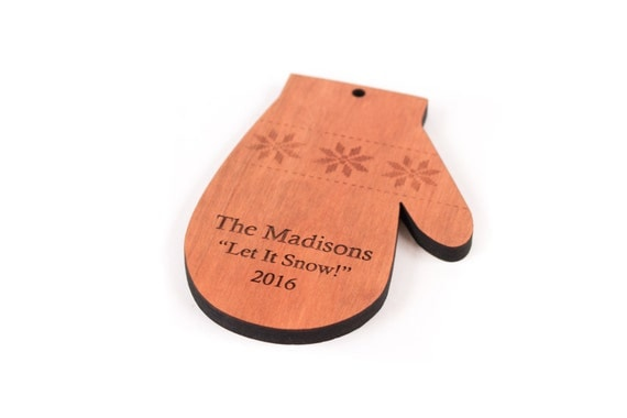 personalized mitten ornament - FREE shipping - solid hardwood heirloom for child or adult, all natural, organic finish