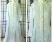 Vintage Peignoir Light Blue and White Robe Matej for Odette Basra Maxi 36 Princess Long Maxirobe Lace Possibly New Lounging Gown