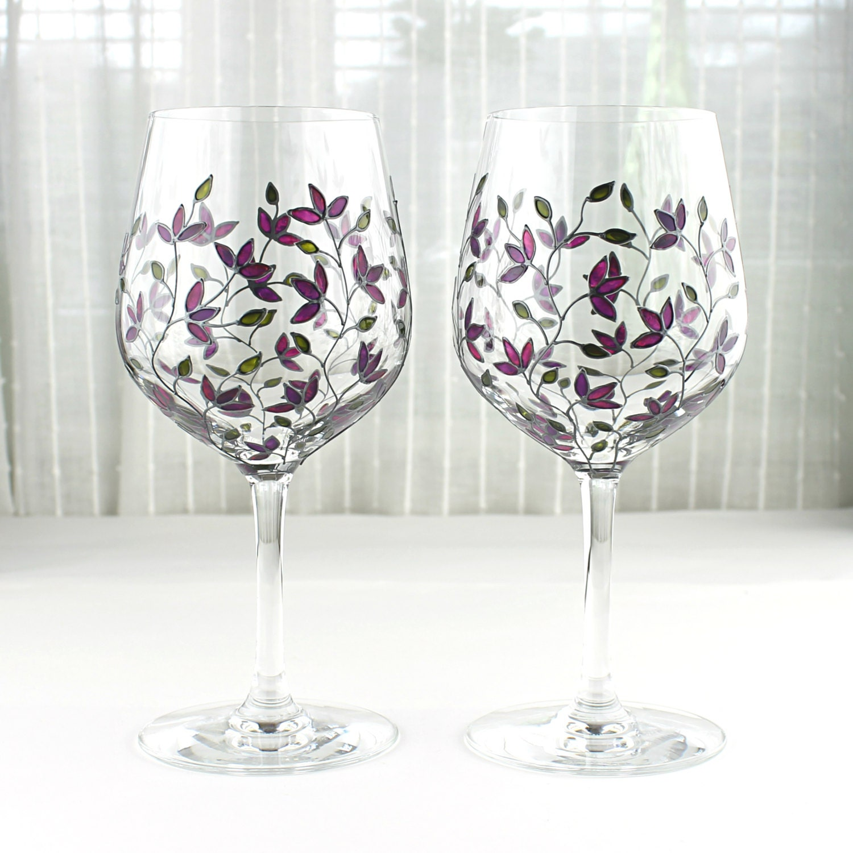 Wine Glasses Purple Tulips Design Wedding Glasses Painted