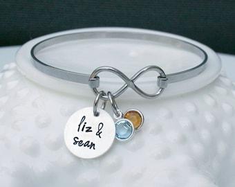Personalized Infinity Bracelet - Infinity Bangle Bracelet - Couples Bracelet - Anniversary Gift - BFF Gift - Wedding Gift - Bridal Shower