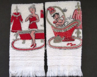 Mr and Mrs Hand Towels by Dundee Red White Novelty Terry Cloth Bathroom Towels Vintage Linens Collectible Gift Idea
