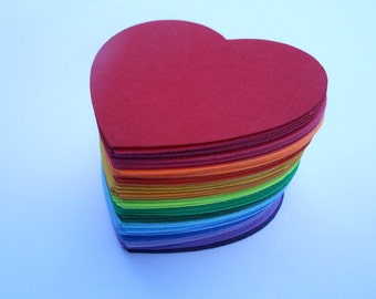200 Rainbow Hearts OR Flowers, 1.5 inch. Other Colors And Sizes Available. Custom Orders Welcome. ROYGBIV