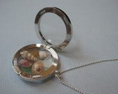 Genuine Sea Glass and Seashell Sterling Silver Locket