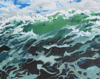 Original Acrylic Painting Details of Wave Movement and Color