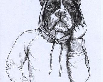 French Bulldog In A Hoodie / Original Sketchbook Drawing (framed)