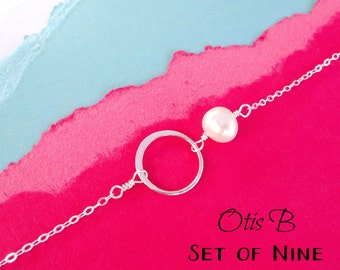 Bridesmaid gift set of NINE eternity necklaces for bridesmaids,bridesmaid jewelry, karma jewelry, silver eternity circlenecklaces