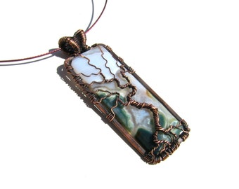 "Tree of Life Pendant  - Earthy Green, Cream and Moss Agate Cabochon and Brown Wire - 1"" x 3"" - Cord Included"