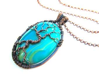 """Tree of Life Pendant  - Beautiful Green and Blue Onyx Agate Cabochon and Oxidized Copper Wire - 1.75"""" x 3"""" - Chain Included"""