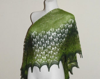 Hand Knit Lace Shawl, Lace Shawl in Shades of Green, Crescent-shaped Scarf