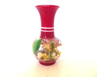 Vintage Lucite Vase Embedded Flowers Red Small 70's