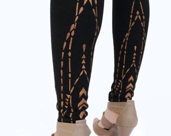Women's LEGGINGS, Gold Pattern Leggings, Back of the Leg Design, Hand Painted, Gifts for Her