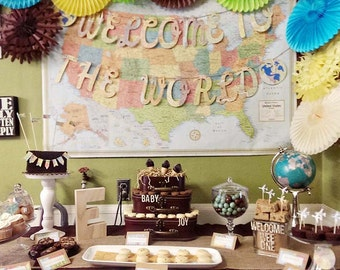 Welcome To The World, Globes, Earth Banner, Vintage Travel Theme, Map Theme, Banner, Photo Prop, Wedding Garland, Map Wedding,Custom Fonts