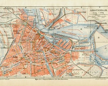 Vintage City Map of Amsterdam, Street Map Lithograph, Old City Plan, Netherlands, Holland