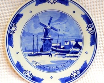 Royal Delft Blue Christmas Plate 1970 Hand painted porcelain Holland