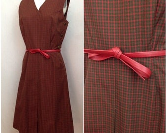 Vintage 1960s Red Plaid Belted Fit & Flare Sleeveless Dress / Women's Medium / 60s Mod Cotton Checked Short Dress