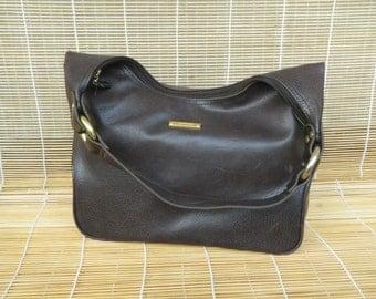 Vintage Lady's Dark Brown Faux Leather medium Size Hobo Bag Purse