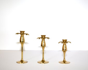 Pineapple Candlesticks Pineapple Candle Holders Brass Candlesticks Tiered Candlesticks Graduating Candlesticks