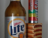 Oversized Novelty Junk Food Decor Photo Props Plastic Miller Lite Beer Bank Lifesaver Candy Tin and Fig Newton Cookie Tins Set of 3