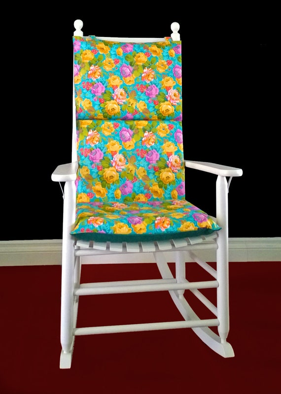 on sale rocking chair cushion turquoise floral by rockincushions. Black Bedroom Furniture Sets. Home Design Ideas