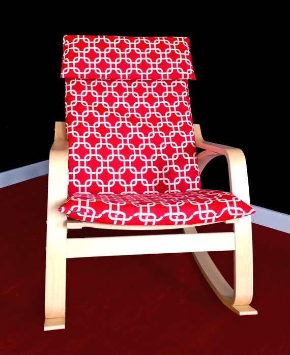 Ikea po ng cushion slipcover gotcha red by rockincushions on etsy - Red poang chair ...